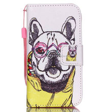 Leather flip mobile phone case colorful painted phone case with portable rope for Iphone 4G