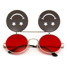 round vintage steampunk metal frame red yellow clip on 2018 uv400 flip up sunglasses