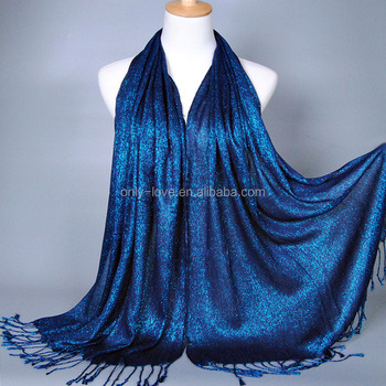 Wholesale 170*60 New Fashion Plain Shimmer Glitter Mulsim Wrap Viscose Long Shawls Muslim Hijab Scarves GBS137