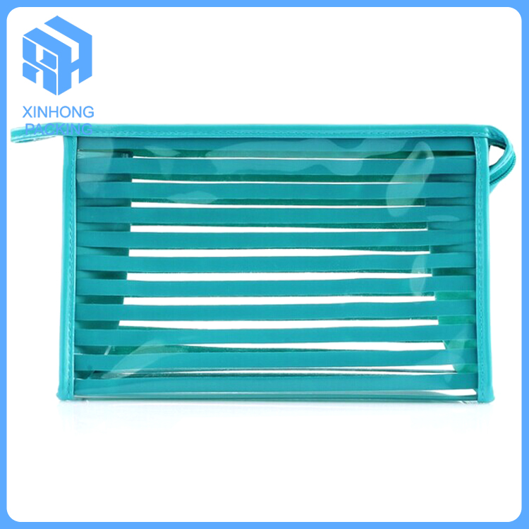 Fashionable stripe style pvc pouch for travelling/pvc waterproof wash bag/pvc stand up cosmetic pouch