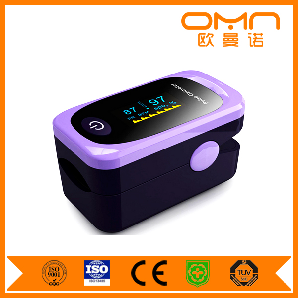 Pulse wave form heat beat mark colorful display Blood Testing cheap medical Equipments finger pulse oximeter
