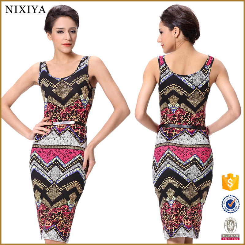 2015 Ladies high fashion elegant casual print vest wrap dress