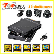 The world smallest H.264 all 4 CH 30 fps 1920*1080 1080P Full HD WIFI SD Card Mobile DVR with 4 Digital Cameras,support 3G& GPS