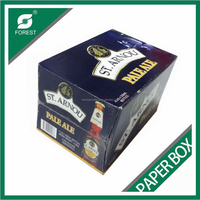 GLOSSY CUSTOMIZED CORRUGATED PAPER BOX FOR WINE BOTTLES 24 BOTTLES BEER PACK