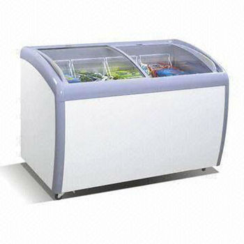 Curved glass door freezer/ display chest freezer/ ice cream showcase