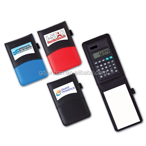 Cheap factory mini pocket leather calculator notepad