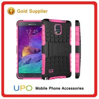 Wholesale 2 in 1 TPU PC material Combo CellPhone case for Samsung Galaxy note 4 with KickStand