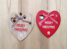 new design printing wood heart shape Christmas hanging ornament