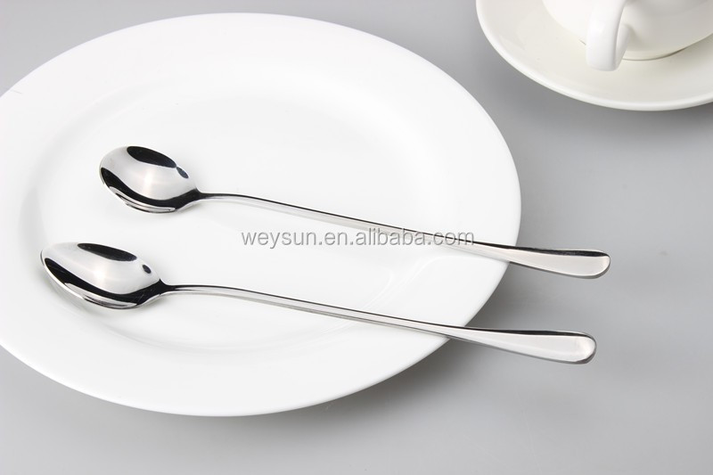 Stainless steel long handle flat round spoon