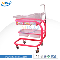 MINA-BB07 Wheeled hospital medical baby bed cot bed baby crib,adult baby crib with IV pole