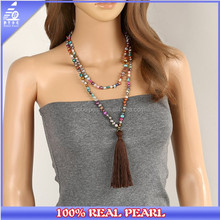 120 Long Tassel Pendant Necklace,Girls Knotted Colored Pearls Necklace Jewelry