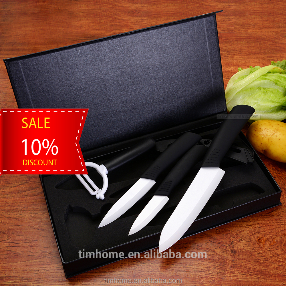 Polished blade! Amazon hot sell professional ceramic knife 5pcs knife set with cover