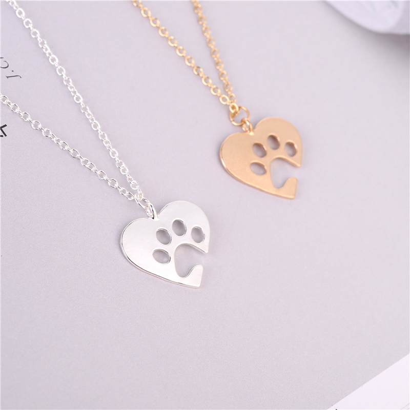 Unique Heart Shaped Necklace Jewelry Wholesale.Cute Dog/Cat Animal Paw Print Pendant Necklace.Gold/silver Pendant Accessories