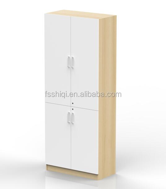 White Color Office Book Cabinet Wood Door Over Head