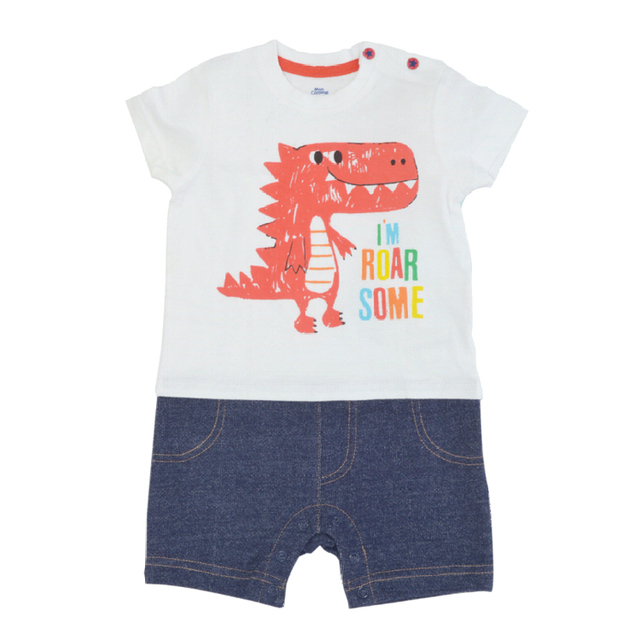 Short sleeved Roman with printed front and knit denim