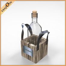 Custom Long Neck 750ml Glass Wine Bottles Wholesale With Wooden Box And Handle