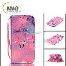 Color painting lanyard wallet flip leather case for samsung note 4 case, mobile cell phone case cover for s4 s4 s5 s6 note 3 5
