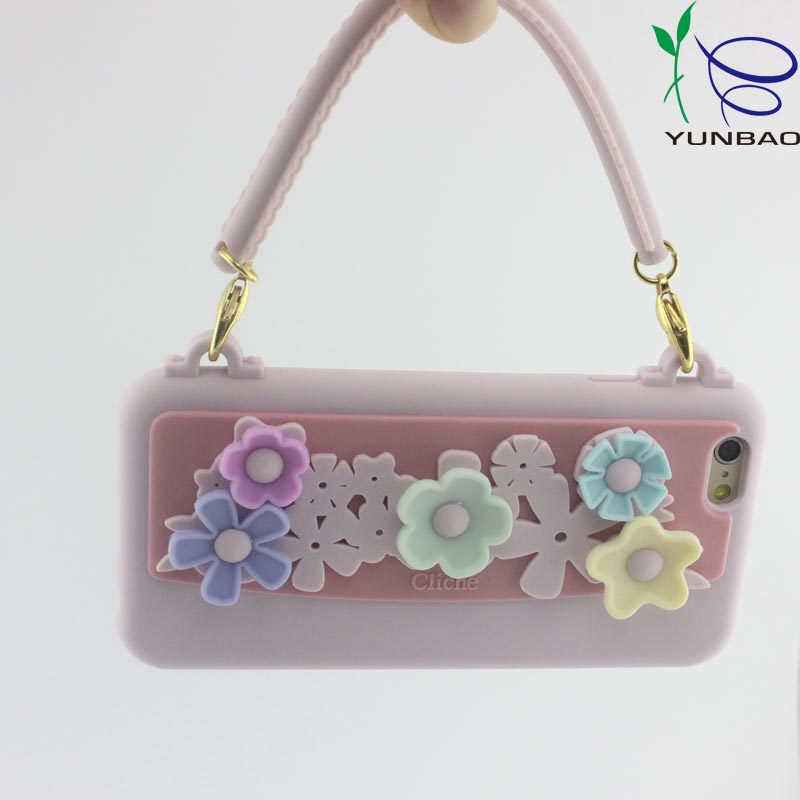 4.7 inch flower handbag silicone phone cover for sumsung mobile