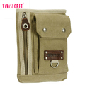Eco-friendly army green cross body bag canvas mini men fanny pack custom money bag for MP3