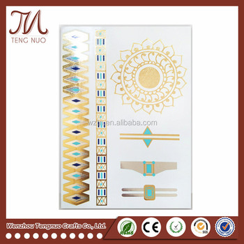 Hot Waterproof Gold Temporary Tattoo Water Transfer