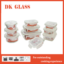 Multi-size stackable glass food savers storage containers set