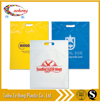 customized printing poly PE shopping die cut bags