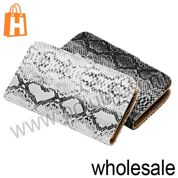 Wallet Style Magnetic Foldable Stand Snake Skin Leather Case for Samsung i9190 i9192 i9195 Galaxy S4 Mini