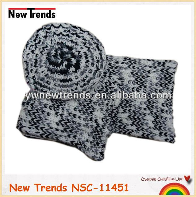 Black gery and white knitted women winter hat and scarf set