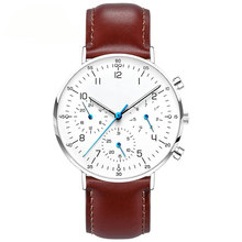 2018 Luxury watch brands three eyes multifunction italian leather quartz chronograph watch custom logo from China factory
