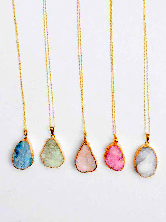 Fashion Geode Agate Druzy Stone Slice Necklace Available
