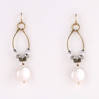 beautiful big water drop ture pearl pendant beaded hoop earrings jewelry for fashion lady