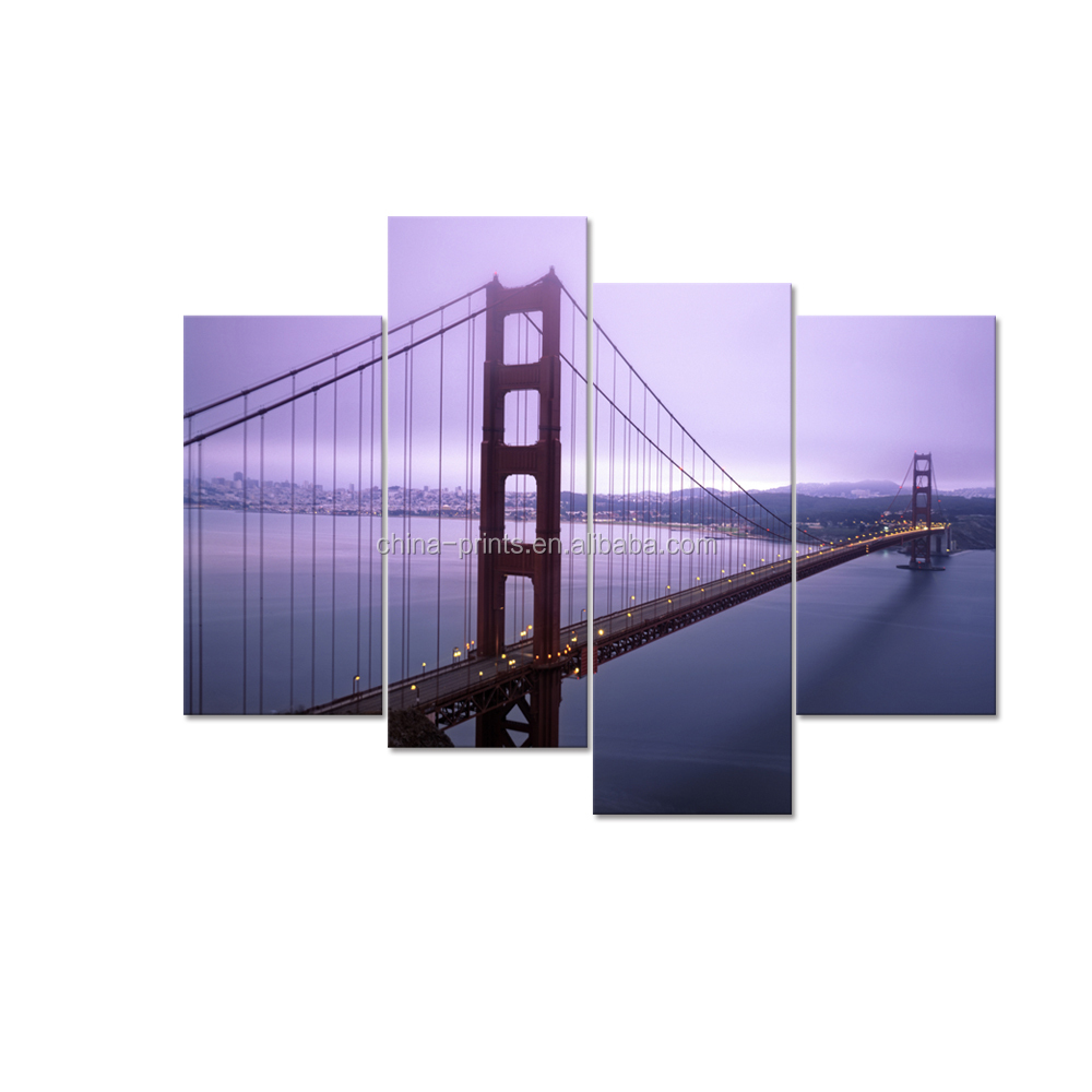 Golden Gate Bridge Photo Canvas Prints City Landmark Canvas Printing Art Digital Canvas Print for Wall Decor 4-Panel
