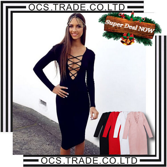 Newest Cut Out Women Black Sexy Cocktail Dresses 2016