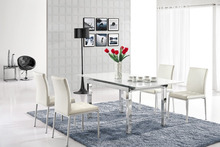 L806E-1 BRAND NEW Modern Extendable White Glass Dining Table
