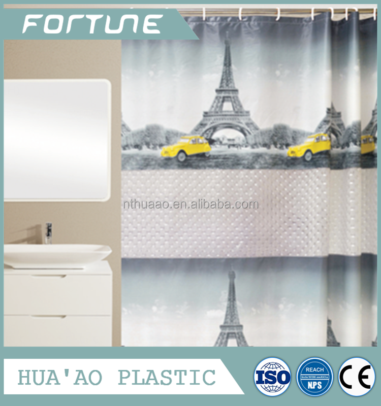 Home goods shower curtains PEVA bathroom curtain 3D lines with printing