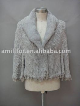 Ladies 100% Hand-crafted Real Rabbit Fur Jacket NEW HOT FUR JACKET( Style : B181 )