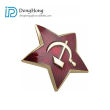 Low MOQ Wholesale Cheap Custom Star Shaped Enamel Military Metal Badge