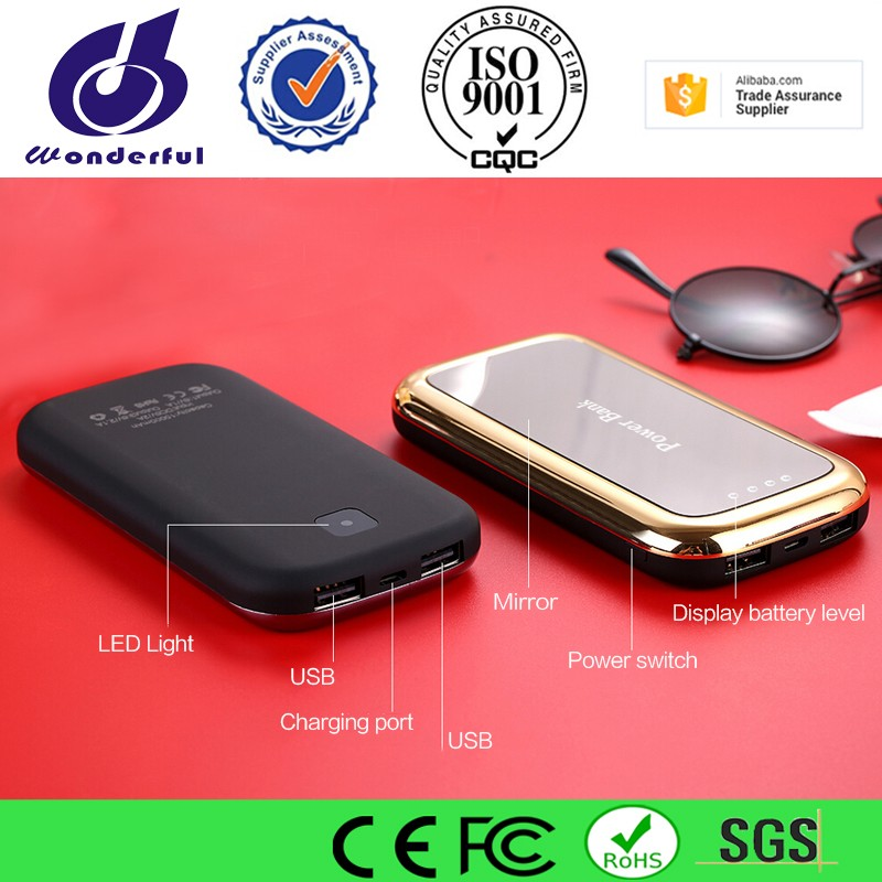 factory outlets mirror face portable power bank 8000mah with led light