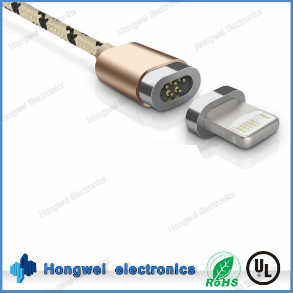 High speed braided cable gold plated magnetic Micro USB 8pin to USB 2.0 power charging and sync data cable