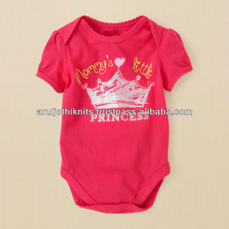 100 % COTTON BABY GIRLS PRINTED BODYSUIT WITH SCALLOPED TRIM