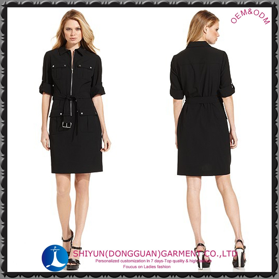 2015 the newest ladies pocket and belt shirt dress with 3/4sleeve black and plus size free sample