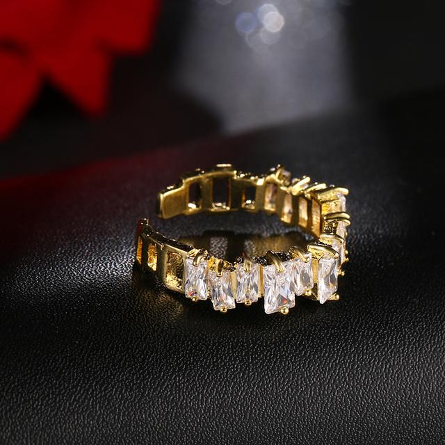 Роскошные Дизайнерские медные кольца золотого цвета с цирконом