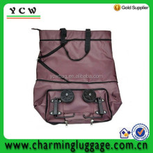 Polyester with PVC Coated Foldable tote Bag with wheels