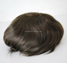 dark brown mens human hair toupee replacement hair system hairpiece for men #2