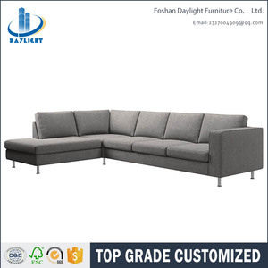 Living room furniture brushed steel legs light grey fabric home sofa