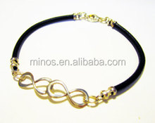 Gold Tone Infinity Symbol Leather Bracelet Duo Forever on Leather Cord Handcrafted