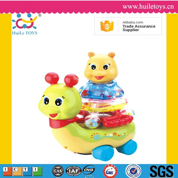 Hot sales snail stacking toys with flashing light