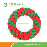 Red and Green Colors Handmade Ring Cotton Rope toy for dog