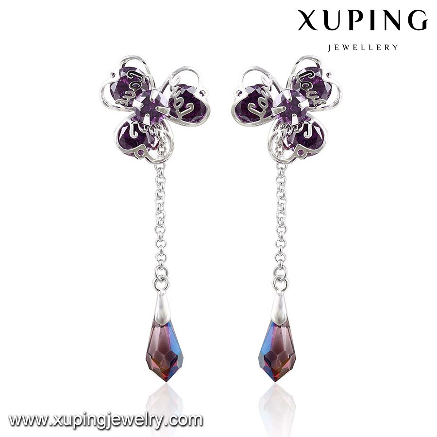 92656-jewelry manufacturer china crystals from Swarovski hanging stone earrings