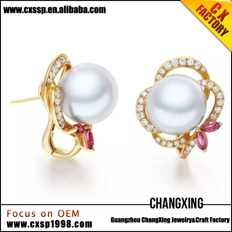 fashion jewelry latest design of pearl earrings with rhinestone